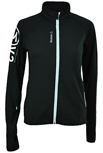 Reebok OS Track Jacket US Damen Crossfit Slim Play Dry Trainingsjacke Schwarz, Grösse:S (Reebok Play Dry)