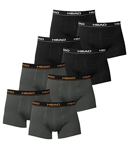 HEAD Herren Boxer Boxershort Unterhose 8er Pack in vielen Farben (4x black 4x dark shadow, M)