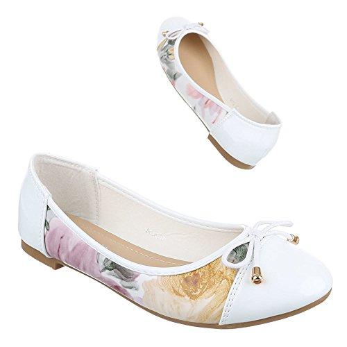 Ballerine Classiche Ital-design Scarpe Da Donna Ballerine Classiche Block Heel Block Heel Ballerinas White 5013