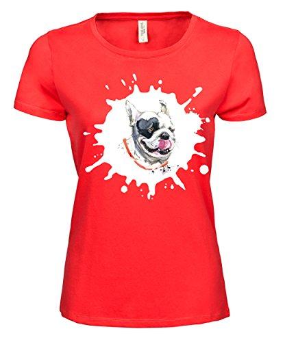 makato Damen T-Shirt Luxury Tee Französische Dogge Coral