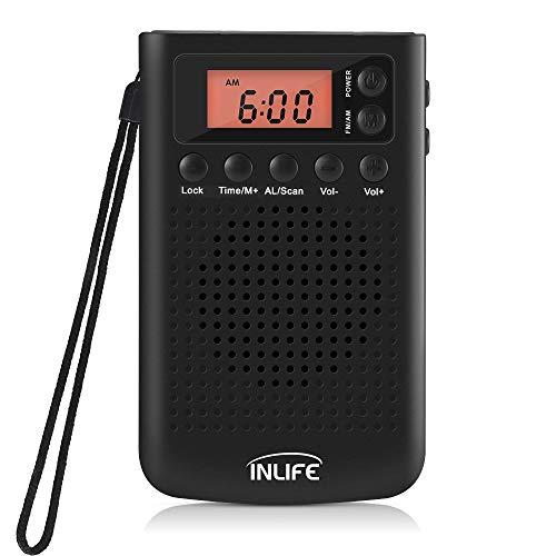 Taschenradio InLife Digitales Pocket Radio Mini Tragbares Radio Portables Digitalradio mit Digital-Wecker, Senderspeicherfunktion, Kopfhöreranschluss, Batteriebetrieben