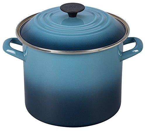 Le Creuset Suppentopf aus emailliertem Stahl mit Deckel, 6 Quart, Flame 8 Quart marineblau (8qt Suppentopf)
