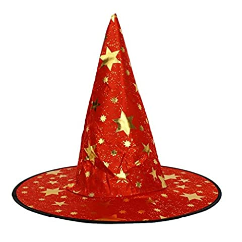 Kid's Wizard Hat Witch's Pointed Hat Halloween Fancy Dress Costume - Red,