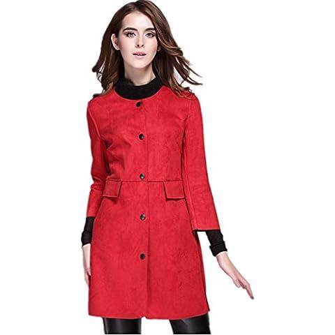 ZYQYJGF Sólido Lana Capas Gamuza Único Breasted Botón Trinchera Abrigo Mujer Color Toppers Slim Confección Chaqueta Chaqueta Rojo . Xxl