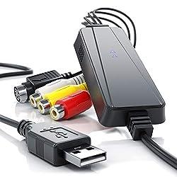 CSL - USB High Speed Videograbber - Audio Video Konverter - PAL NTSC - Filme und Videos digitalisieren - Grabber - Umwandler - Software PotPlayer - VHS - Videoadapter zur Bearbeitung-Nachbearbeitung