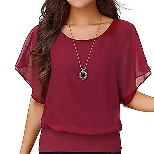 Chiffon T-Shirt für Damen/Dorical Sommer Casual Loose Fit Kurzarm Rundhals Fledermaus Batwing Shirt Elegant Top Bluse Casual Party Bluse Pullover Tees 8 Farben S-5XL Ausverkauf(Weinrot-1,Large) -
