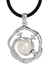 Bella Donna Damen- Anhänger mit Kautschukband 925 Silber 1 SW-ZP Button 9-10 mm weiß Zirkonia weiß