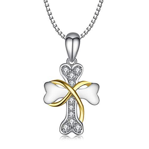 JHAYBB Damen Halskette Mode Europa Damen Kreuz Besetzt 925 Sterling Silber Knochen Anhänger,Silver-OneSize