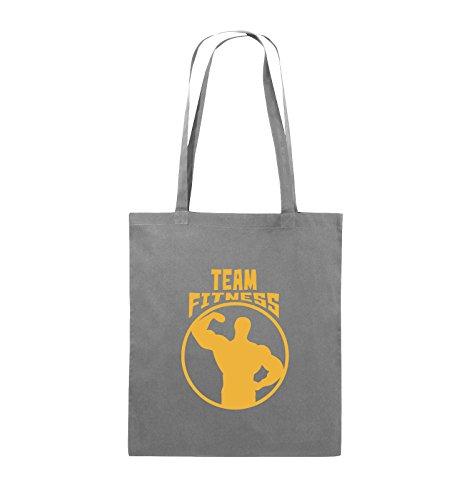 Comedy Bags - TEAM FITNESS - Jutebeutel - lange Henkel - 38x42cm - Farbe: Schwarz / Silber Dunkelgrau / Gelb