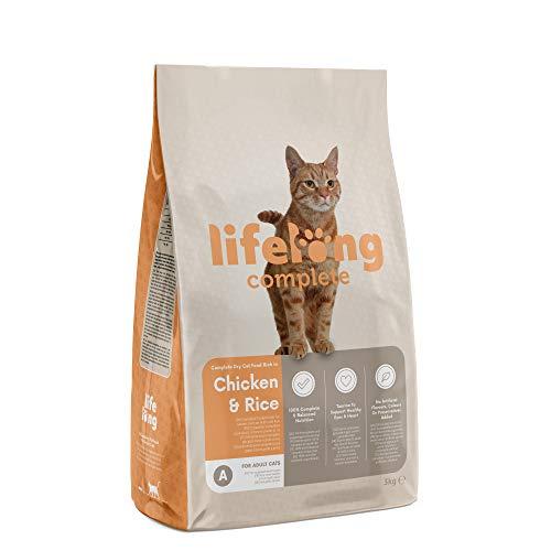 Marchio Amazon- Lifelong Complete - Alimento secco completo per gatti adulti ricco in pollo e riso, 3 x 3kg
