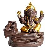 MOOUK Ganesha Riflusso Bruciatore Incenso Cascata Incenso Decorazione Casa Decorazioni Statua Ornamenti Mano Regalo Figurina e 10 Coni Incenso - Dorato, da Cucire su Misura