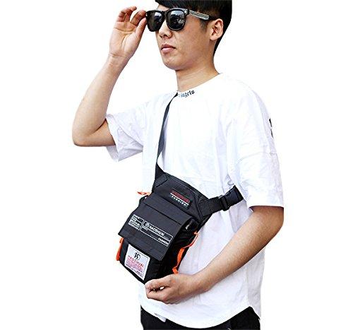 Genda 2Archer Nylon Beintasche Freizeit Oberschenkel Tasche für Outdoor-Aktivitäten (Schwarz) Schwarz