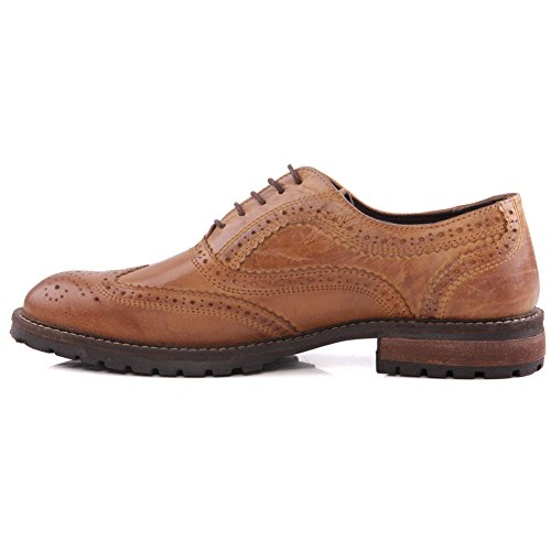 "Unze Hommes ""Barrow"" Brogues Style Formal Lace Up Chaussures Taille UK 7-11 ROUGE-MARRON"