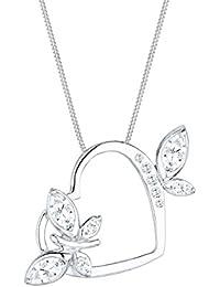 Elli Damen-Kette mit Anhänger Schmetterling Butterfly Herz 925 Silber Zirkonia weiß Marquiseschliff - 0110810314_45