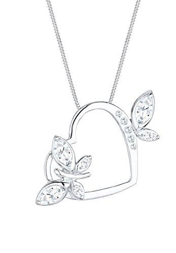 Elli Halskette Damen Halskette Herz Schmetterling mit Zirkonia Kristallen in 925 Sterling Silber Pretty