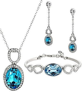 Neoglory Jewellery Schmuckset Tropfen silber mit Swarovski® Elements Kristall blau und weiß elegant und luxus