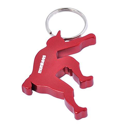 munkees Schlüsselanhänger Kletterer mit Flaschenöffner aus hochwertigem Aluminium, Schlüsselring, Rot, 34934
