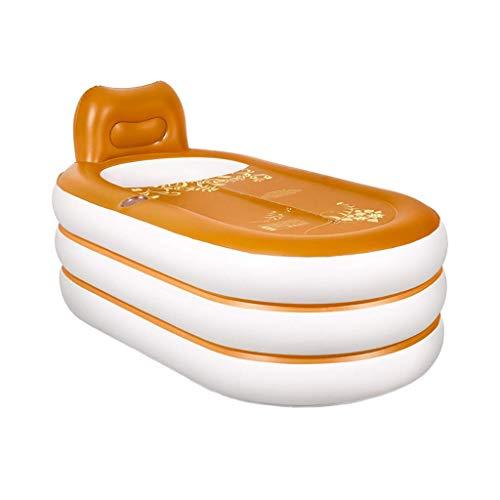 MY1MEY Aufblasbare Badewanne, Luftwanne mit Luftpumpe, rutschfestes faltbares und bewegliches mit Kissen für Swimmingpool und Reise, orange