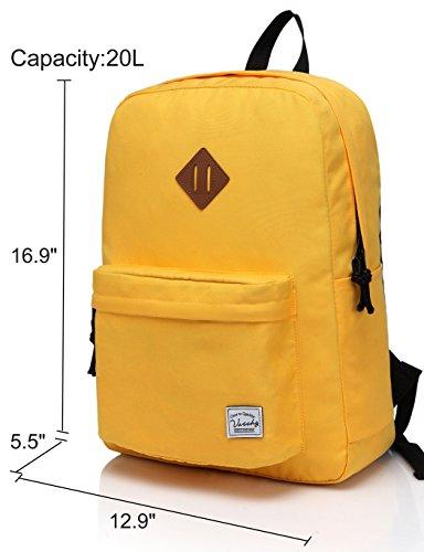 Imagen de vaschy  ligera, clásico impermeable básica daypack plegable para los deportes y los viajes, la bolsa de libros de la escuela primaria para los adolescentes oro alternativa