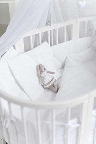 ComfortBaby ® klassisches Jersey Spannbettlaken, passend fuer SmartGrow 7in1 Babybett RUNDE UND OVALE MATRATZE 2ER-PACK (weiss)
