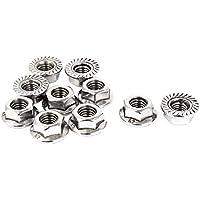 Hexagonales tuercas de brida - SODIAL(R) tuercas de 8 mm de altura de rosca M8 de acero inoxidable con filo de sierra hexagonales tuercas de la brida 10 piezas