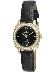 Reloj de las mujeres de cristal de oro bisel redondo de piel de color negro de la correa de reloj de pulsera para mujer