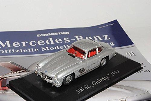 Mercedes-Benz 300SL Gullwing Silber Coupe Flügeltürer 1954-1963 Inkl Zeitschrift Nr 1 1/43 Ixo Modell Auto mit individiuellem Wunschkennzeichen (Zeitschrift 1955)