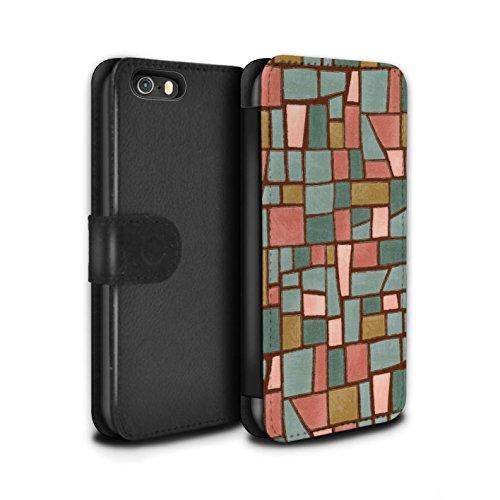 Stuff4 Coque/Etui/Housse Cuir PU Case/Cover pour Apple iPhone 5/5S / Gris/Blanc Design / Carrelage Mosaïque Collection Rouge/Bleu