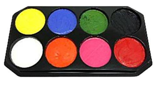 Kostüme Anzug Orangen Haut Kind (Confettery - Kinder Erwachsene Schmink Palette, Aqua Schminke, 8 x 18 ml,)