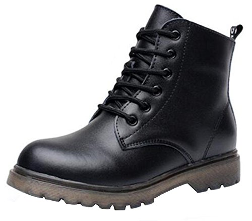 PPXID Boy's Girl's Lace up&Side Zip Ankle Boots Combat Boots-Black Kid 2.5 UK Size