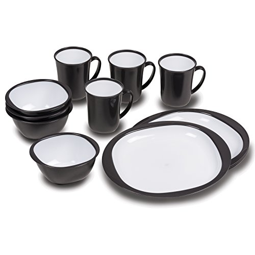 Siehe Beschreibung Geschirrset 12 teilig aus stabilem Polypropylen inklusive Tassen, Schüssel, Teller schwarz/weiß • Campinggeschirr Geschirr 4 Personen Picknick Camping Garten (Und Geschirr-sets Schwarz Weiß)
