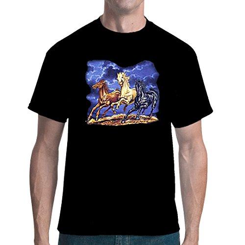 Fun unisex T-Shirt - Pferde und Blitze by Im-Shirt Schwarz