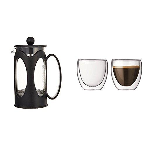 Bodum - 10682-01 - Kenya - Cafetière à Piston 3 Tasses - 0,35 L - Noir + Set de 2 Verres Pavina 8cl