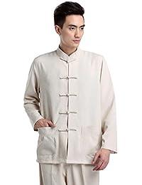 JTC Men's Kong Fu Tops Long Sleeve Jacket Tang Suit Chinese Traditional Tai Chi Coats