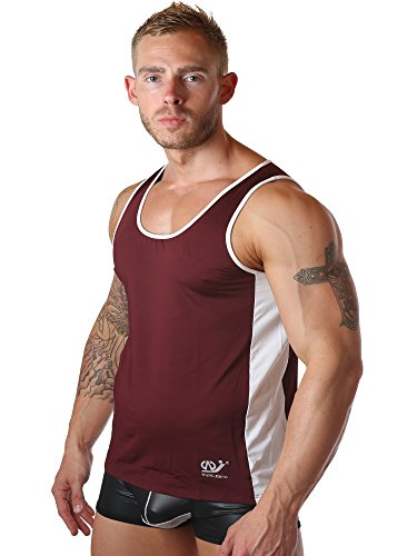 naughty-bitz Tight Herren Clubbing Gym Beach Summer Vest/Tank Top in 5Farben Rot - Burgunderrot