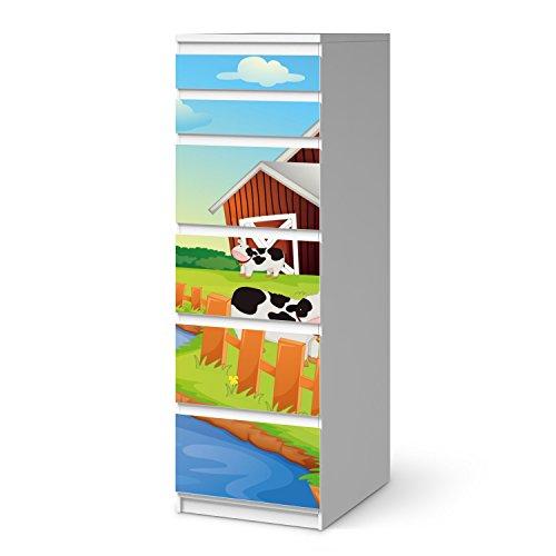 creatisto Möbel-Aufkleber Folie für IKEA Malm 6 Schubladen (schmal) I Sticker Kinder-Zimmer dekorieren I Wohnideen IKEA Möbel für Kinder-Zimmer Dekor I Kids Kinder Cowfarm 2 -