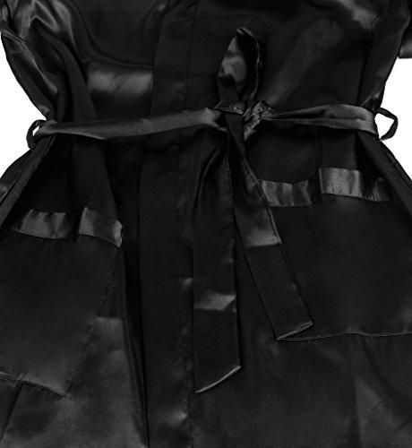 Surenow Männer Herren Satin Hausjacke Kimono Schlafanzug Schlafmantel Schlafkleid Morgenmantel Nachtwäsche Pyjamas Bademantel Nachthemd Schwarz