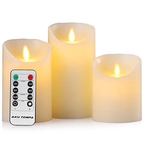 Aku Tonpa Velas LED de 4 pulgadas, 5 pulgadas, 6 pulgadas, paquete de 3 velas sin llama de cera real, funciona con pilas, juego de velas falsas eléctricas parpadeantes con Roma y temporizador