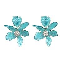 Swn-Sntshkut Ms. Acrylic temperament simple flower long ear clip