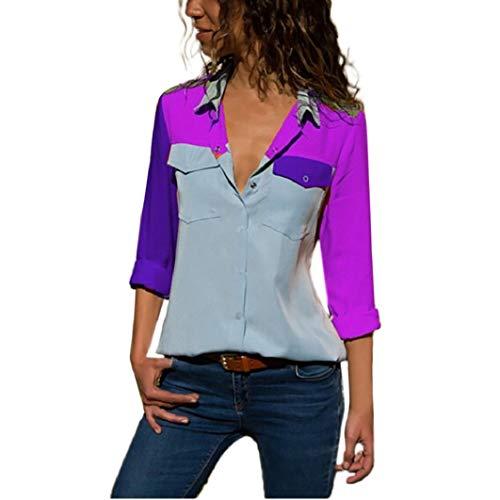 (Subfamily Damen Casual Langarm-Colour-Blocking Taschen Taste T Shirts Tops Bluse Bunten Hemd V Ausschnitt Lässig Bluse Fashion Oberteile Sweatshirt Langarmshirt)