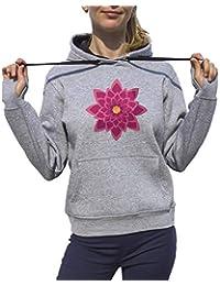 KrisTalas Sudadera con Capucha Mujer Lotus Mandala Meditation Yoga Spiritual Gris