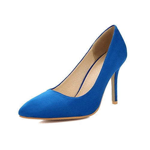 AgooLar Femme à Talon Haut Dépolissement Couleur Unie Tire Pointu Chaussures Légeres Bleu