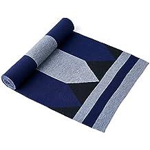 Hombres Lana Knit Stripe Long Neckwear Costura cálida bufanda para el invierno ( Color : 02 )