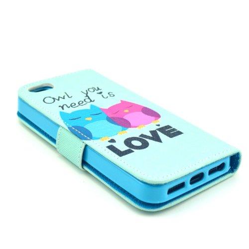 MOONCASE iPhone 5 Case Motif Conception Coque en Cuir Portefeuille Housse de Protection Étui à rabat Case pour iPhone 5 5S P44