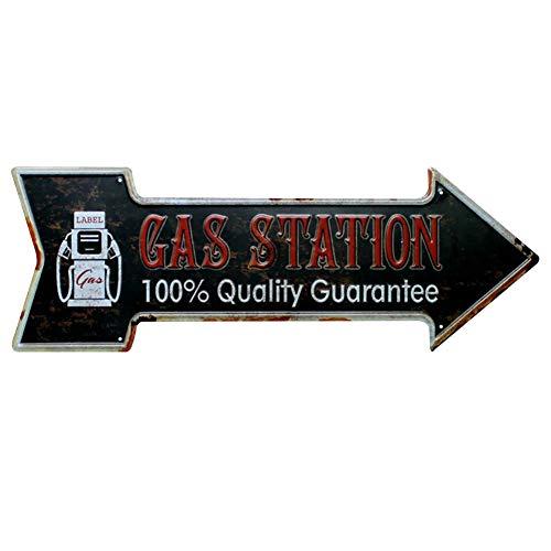 Lumanuby 1x Pfeil Metall Zeichen Wandposter für Tankstelle oder Autowerkstatt Deko Wandschild mit Wort 'Gas Station, 100% Quality Guarantee' Schäbig Prägen Stil - Pfeil-zeichen Metall