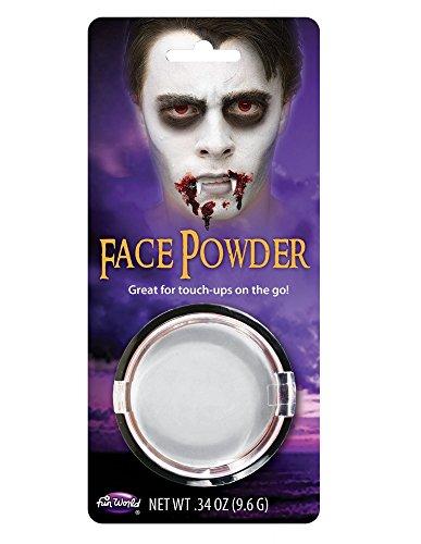 shoperama Kompaktpuder Schminke Make-up Halloween Karneval Fasching Vampir Werwolf Zombie Totenkopf Frankenstein Puder, Farbe:Weiß