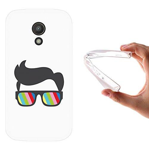 WoowCase Motorola Moto G 2014 Hülle, Handyhülle Silikon für [ Motorola Moto G 2014 ] Sonnenbrille und Nerd Stil Handytasche Handy Cover Case Schutzhülle Flexible TPU - Transparent