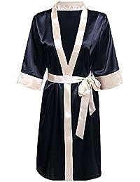 TOOGOO(R) Women s Kimono Robe Knee Length Lingerie Sleepwear Short Satin  Dark Blue XS 9f0749c34