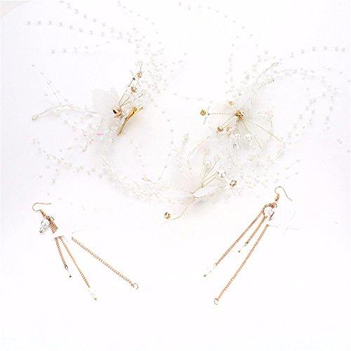 MultiKing tocado de novia Hermosa hecha a mano de papel crepé con reborde bandeja de mariposa aretes tocado de cabello Cabello boda nupcial accesorios