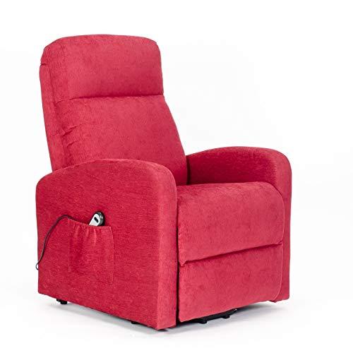 Meinrelaxsessel - Fernsehsessel Chanel mit 1 Motor und Aufstehhilfe. Bezug aus Mikrofaser oder Stoffbezug mit schmutzabweisender Behandlung - Fernsehsessel-Chanel-1M-RED Rot schmutzabweisender Stoff -